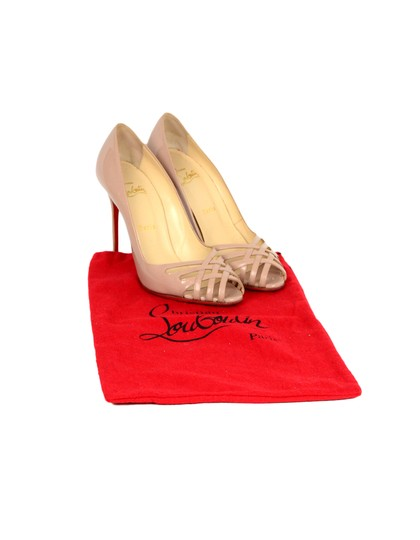 Christian Louboutin Patent Leather Crisscross Strap Peep Nude Pumps Image 1