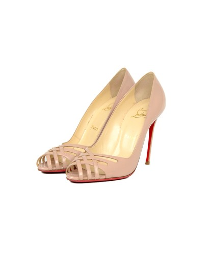 Christian Louboutin Patent Leather Crisscross Strap Peep Nude Pumps Image 2