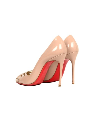 Christian Louboutin Patent Leather Crisscross Strap Peep Nude Pumps Image 3