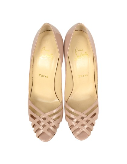 Christian Louboutin Patent Leather Crisscross Strap Peep Nude Pumps Image 7