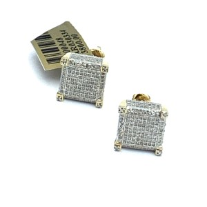 other (771) 10k yellow gold square diamond stud earrings