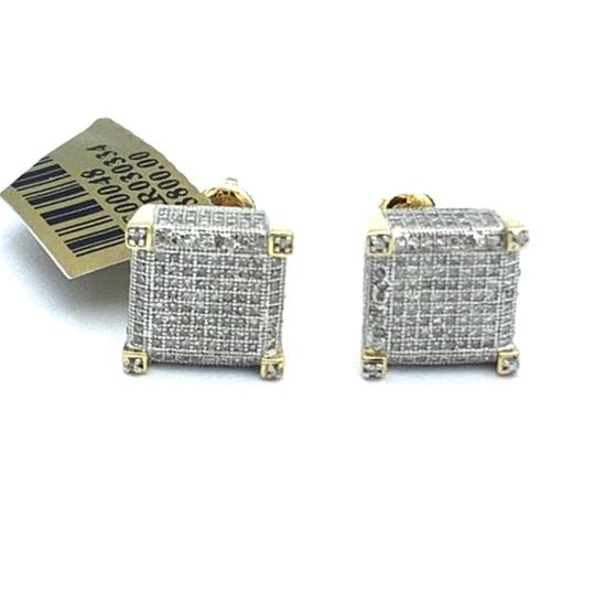 other (771) 10k yellow gold square diamond stud earrings Image 2