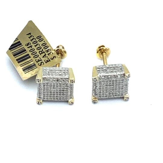 other (771) 10k yellow gold square diamond stud earrings Image 3