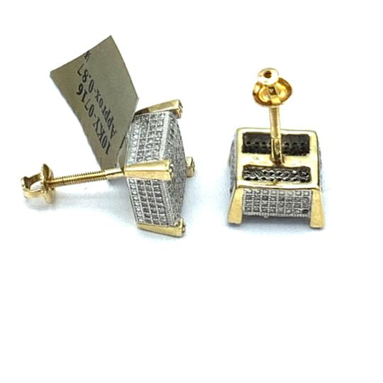 other (771) 10k yellow gold square diamond stud earrings Image 4