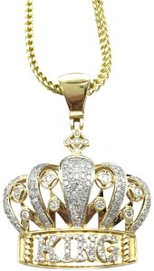 other (772) 10k yellow gold miami cuban chain with diamond king pendant
