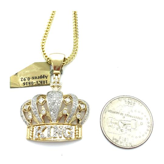 other (772) 10k yellow gold miami cuban chain with diamond king pendant Image 2