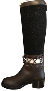 Chanel Cc Runway Lace Trim Black Tweed Brown Leather Boots