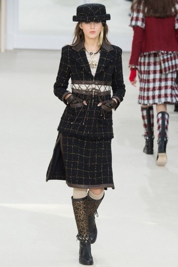 Chanel Cc Runway Lace Trim Black Tweed Brown Leather Boots Image 1