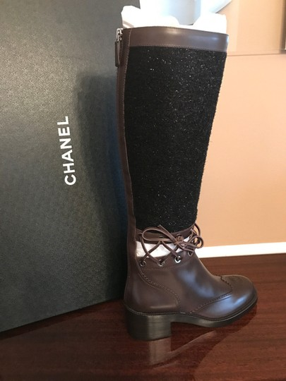 Chanel Cc Runway Lace Trim Black Tweed Brown Leather Boots Image 3