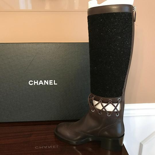 Chanel Cc Runway Lace Trim Black Tweed Brown Leather Boots Image 5