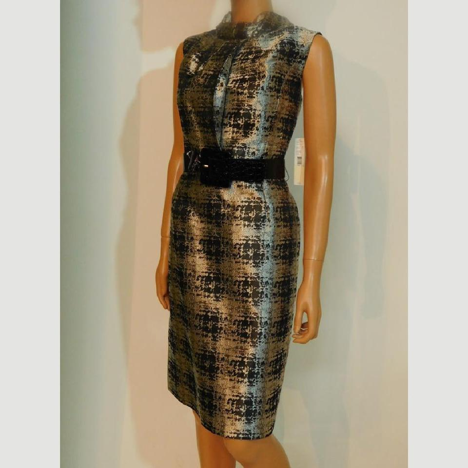 5e078588089 Antonio Melani Silver Black Sleeveless Sheath Short Cocktail Dress Size 14  (L) - Tradesy