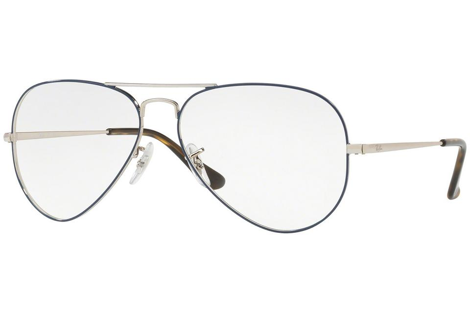 3ffb6d322be77 Ray-Ban Silver Blue Frame   Demo Lens Rx6489 2970 Unisex Aviator Eyeglasses