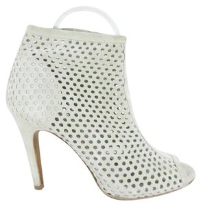 Pedro Garcia Perforated Peep Toe Ankle Gray Boots