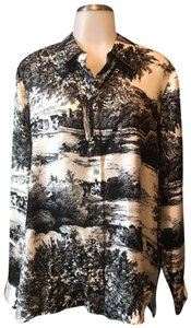 fce641fccd2cdd Liz Claiborne Countryside Toile Etro Silk Forest Top Black and Ivory