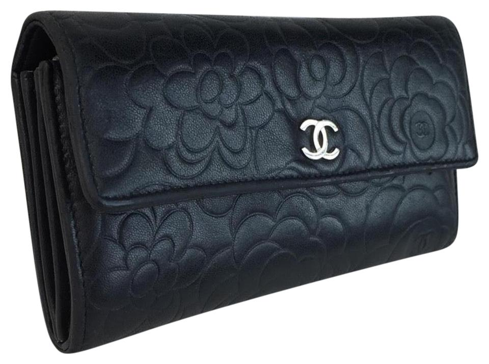 3d212325d827 Chanel Black Bifold Camellia Embossed Wallet - Tradesy
