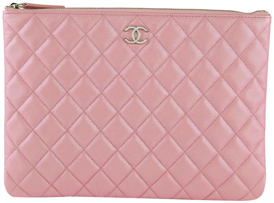 c266eafa517d Chanel 19s 19s Rose Gold O Case Pink Iridescent Clutch Image 0 ...