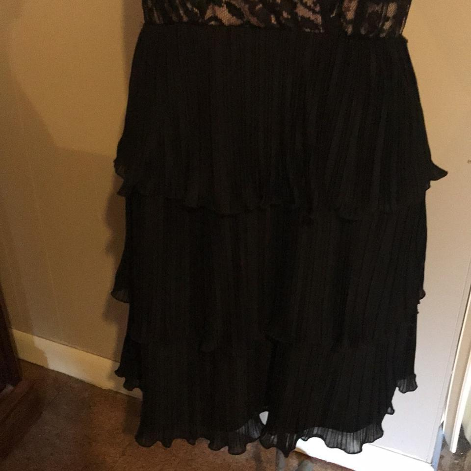 Tiana B Black Lace And Flounce Mid Length Cocktail Dress Size 12 L
