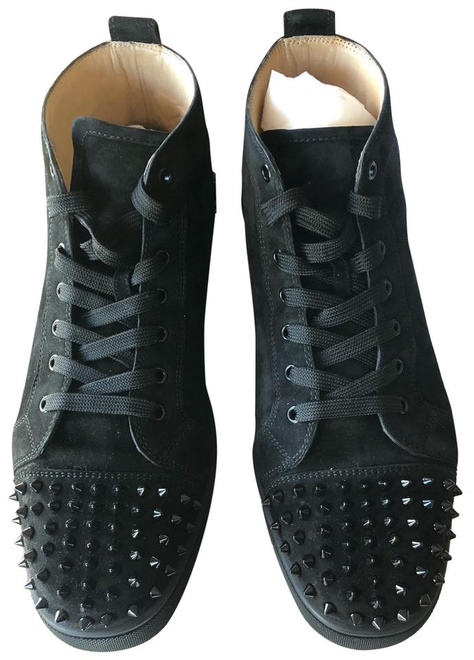 more photos ef611 2304e Christian Louboutin Black Men's Lou Spikes Flat Suede B049 Sneakers Size US  13.5 Regular (M, B)