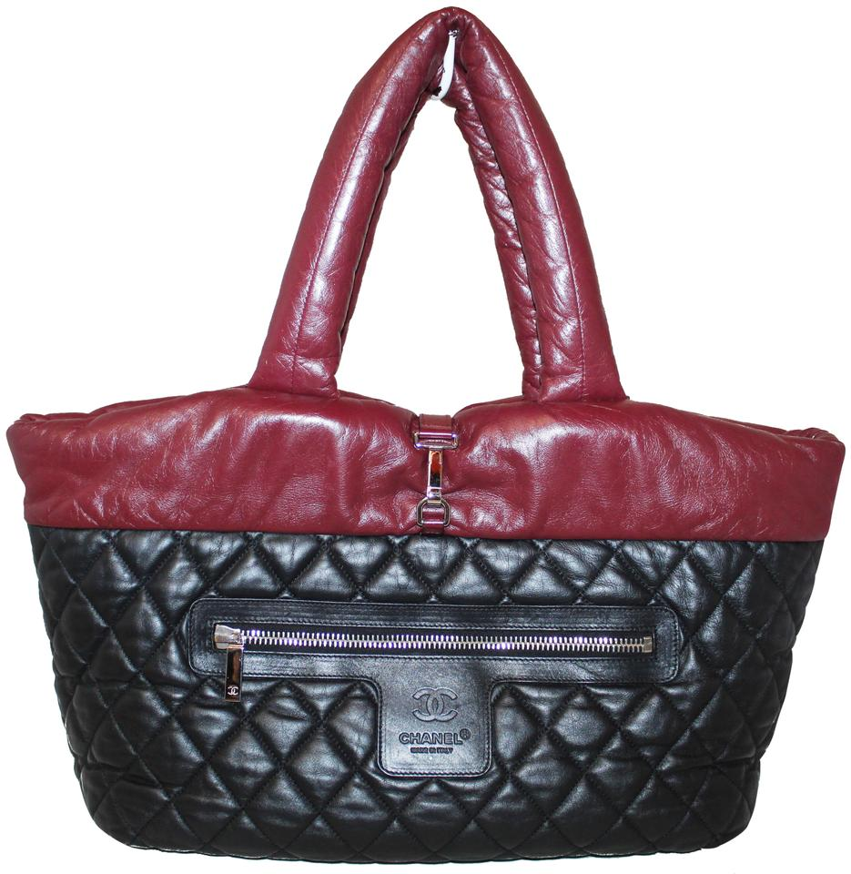12c93b7aa279 Chanel Cocoon Black/Burgundy Coco Quilted Reversible Large Black ...