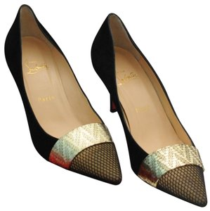 Christian Louboutin Gladiator Fishnet Heels Black Pumps