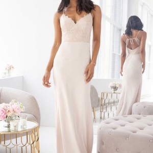Hayley Paige Collections Champagne Cashmere Lace / Chiffon 5905 Formal Bridesmaid/Mob Dress Size 10 (M)