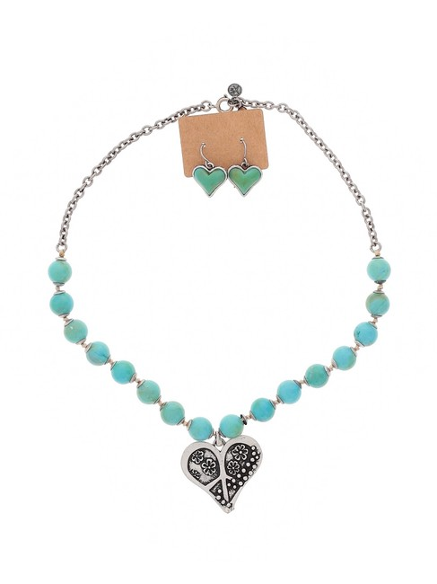 Item - Turquoise Blue Green Heart Beaded Earring Set Necklace