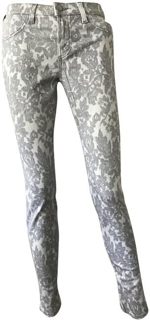 Item - Lace Print Grey Super All Over Skinny Jeans Size 26 (2, XS)