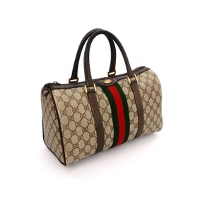 Gucci Monogram Vintage Duffel Holdall Web Tote in Brown