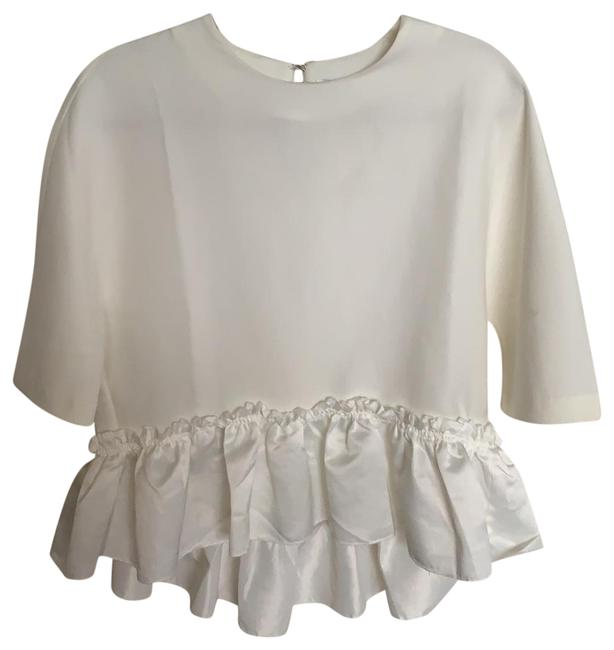 Item - White Loose Fit with Frills Blouse Size 4 (S)