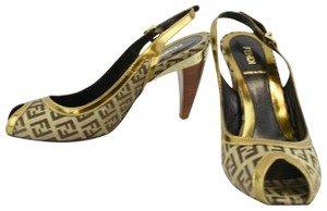 Fendi Monogram Logo Heels Open Canvas Multi Mules