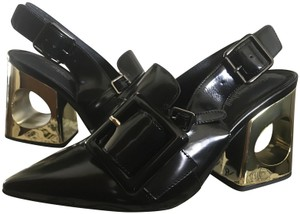 Jeffrey Campbell Leather Patent Black/Gold Mules