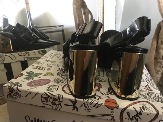 Jeffrey Campbell Leather Patent Black/Gold Mules Image 1