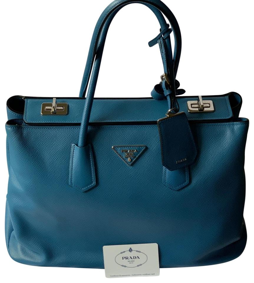 8f770b594a8f Prada Saffiano Large Aqua Blue Leather Tote - Tradesy