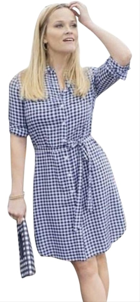 f70256184d8 Draper James Navy and White Gingham Short Casual Dress Size 2 (XS ...