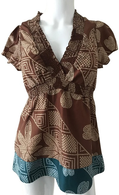 Item - Flutter Sleeve Tribal Print Babydoll Brown and Teal Top