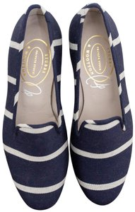 1a1b886c87d Stubbs   Wootton Smoking Slippers Loafers Loafers navy and white stripe  Flats