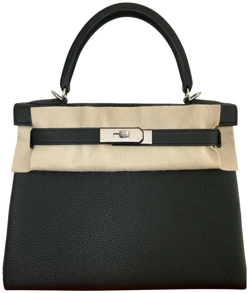 ca17de958a Hermès Kelly 28 Retourne Hardware Palladium Togo Black Leather ...