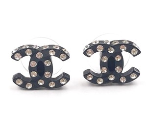Chanel Chanel Black CC All Over Crystal Piercing Earrings