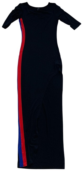 Item - Black Red Blue Striped with Large Slit Like New Long Casual Maxi Dress Size 4 (S)
