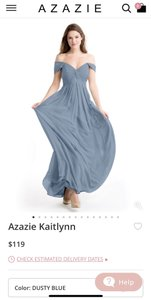 Azazie Dusty Blue Traditional Bridesmaid/Mob Dress Size 6 (S)