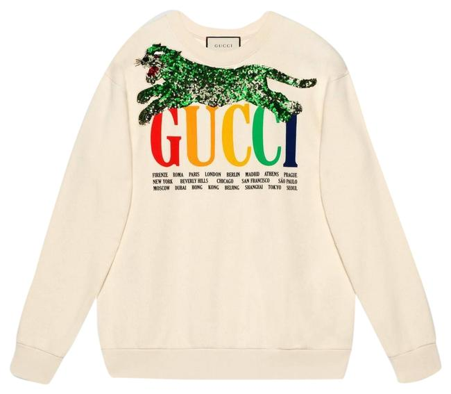 Item - White Oversize Cities and Tiger Sweatshirt/Hoodie Size 8 (M)