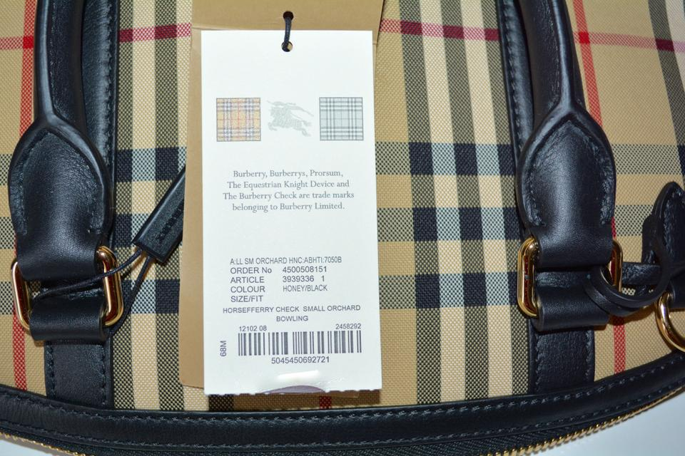 8d75437332c1 Burberry Orchard Bowling Canvas Tote Purse Black   Honey Leather ...