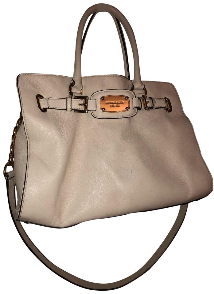48875434981177 MICHAEL Michael Kors Hamilton White; Off White; Cream Leather Satchel