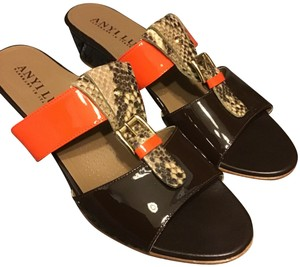 Anyi Lu Handmade-italy Leather Upper Leather/Rubber Sole Skid-free Pad Adj. Front Buckle Brow, Gray, Beige and Orange Mules