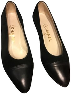 aa25bbf189d Chanel Black 35 1 2 Vintage Slip-on Loafers with Gold Plate Flats ...