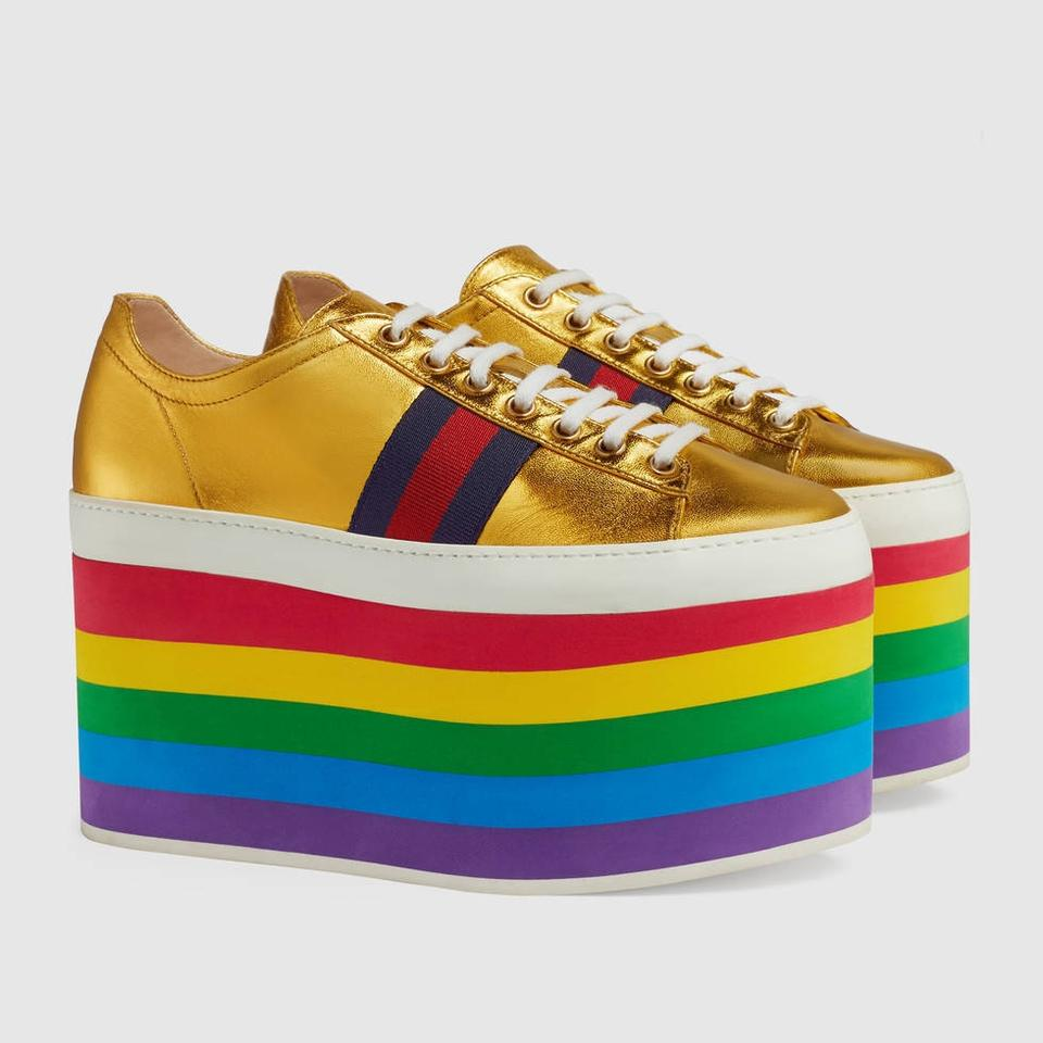 db8538df3bf Gucci Metallic Gold 452312 Peggy Platform Sneakers Stripes Thick ...