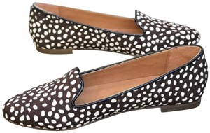 J.Crew Calf Hair Loafers Animal Print BROWN WHITE SPOTS Mules