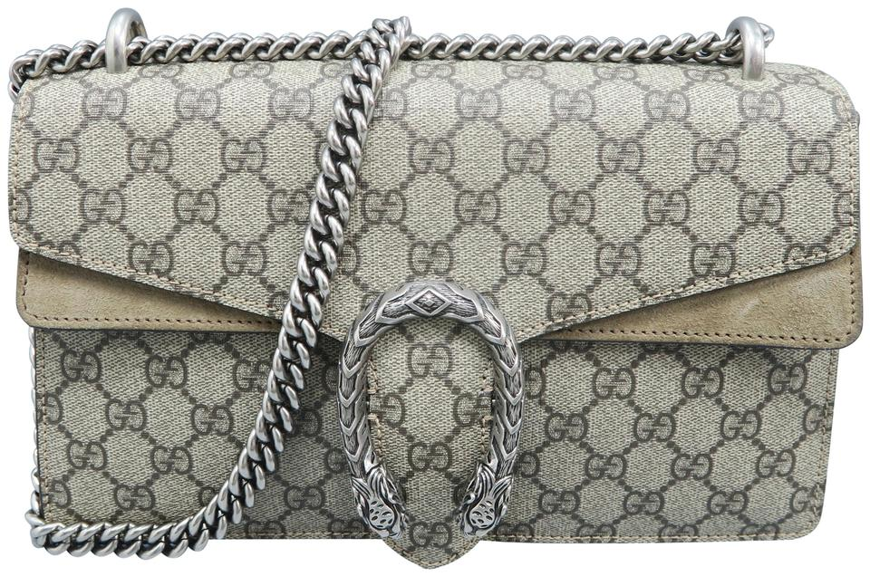 d76ef6621f Gucci Dionysus Gg Supreme Small Grey Canvas Shoulder Bag - Tradesy