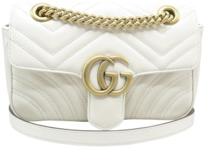 b4697d57c0f9 Added to Shopping Bag. Gucci Calfskin Marmont Mini Shoulder Bag. Gucci  Marmont Mini Gg Matelassé White Calfskin Leather ...