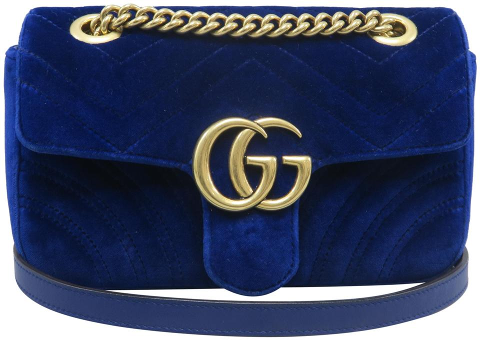 8e9c8de2464 Gucci Marmont Mini Gg Blue Velvet Shoulder Bag - Tradesy